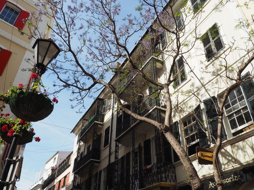 Historische Gebäude in der Main Street auf Gibraltar, der englischen Enklave am südlichsten Zipfel Europas