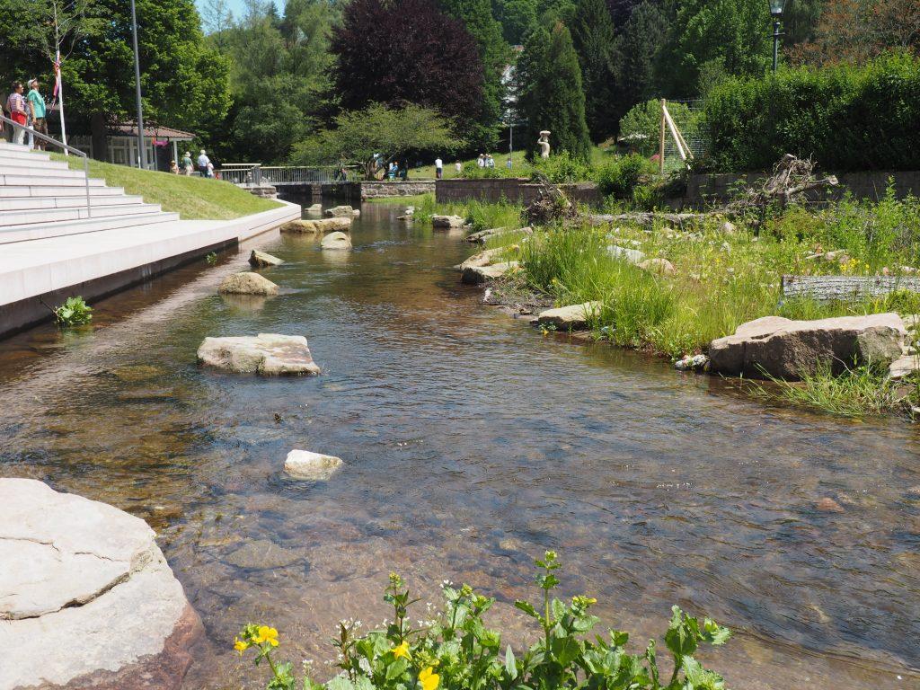 Das renaturierte Flüßchen Alb, integriert in das Gelände der Gartenschau 2017 in Bad Herrenalb