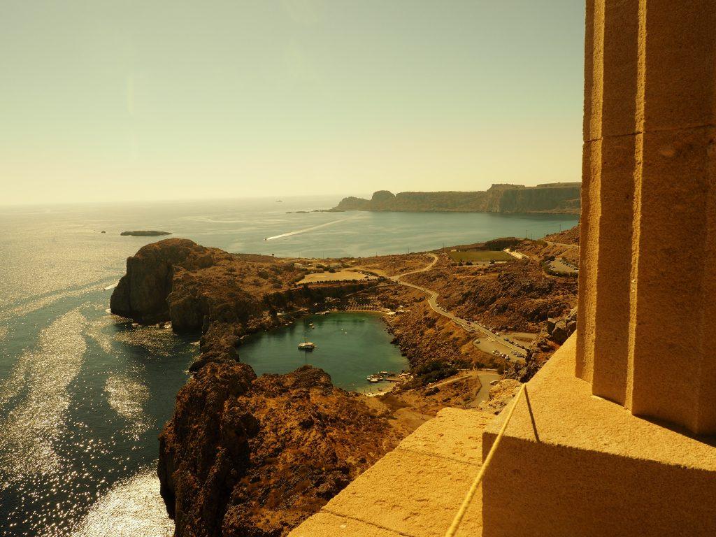 Wunderbarer Ausblick auf die St. Pauls Bucht in Lindos auf Rhodos