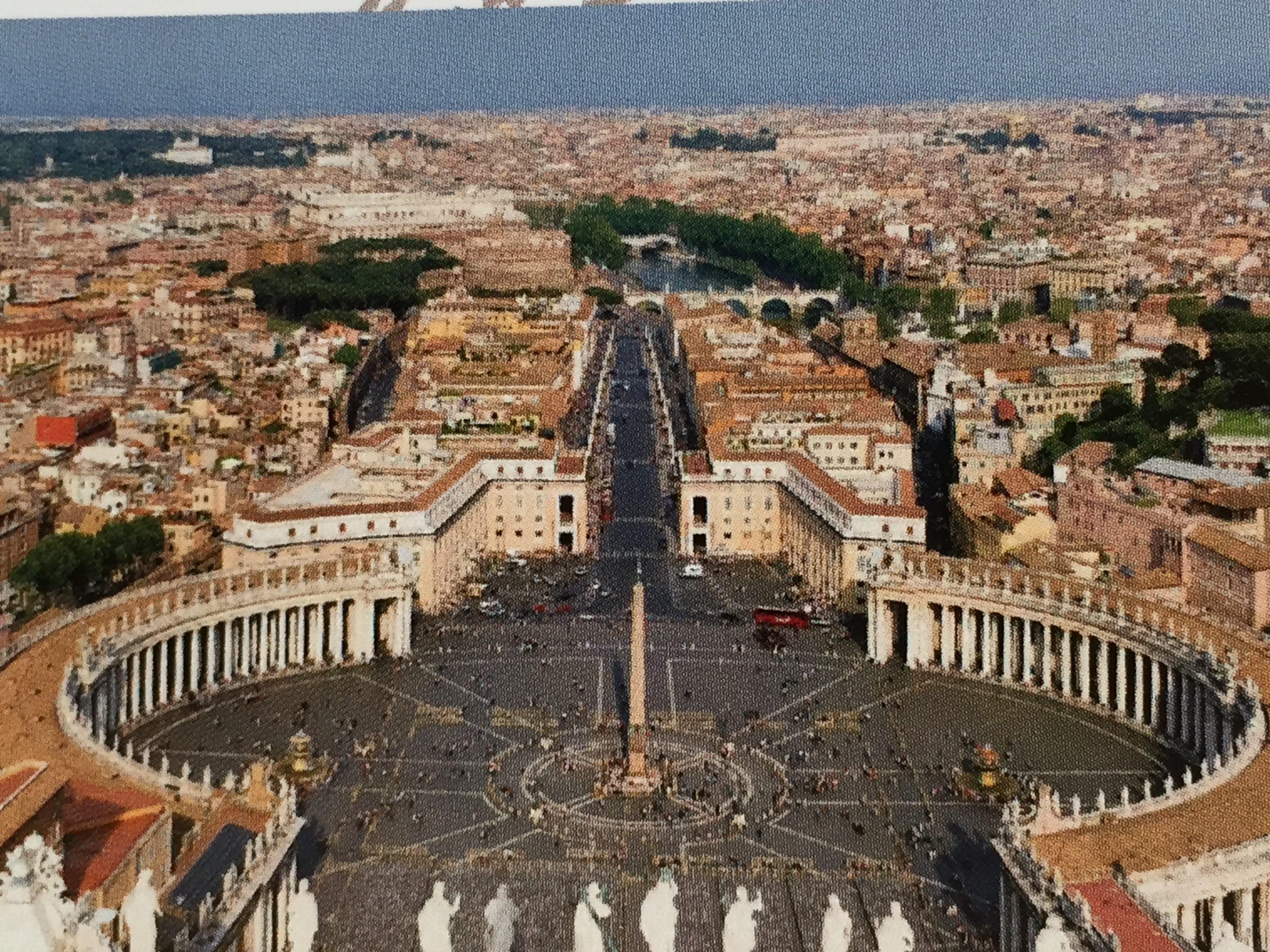 Blick vom Petersdom auf den Petersplatz aus dem Jahr 1995