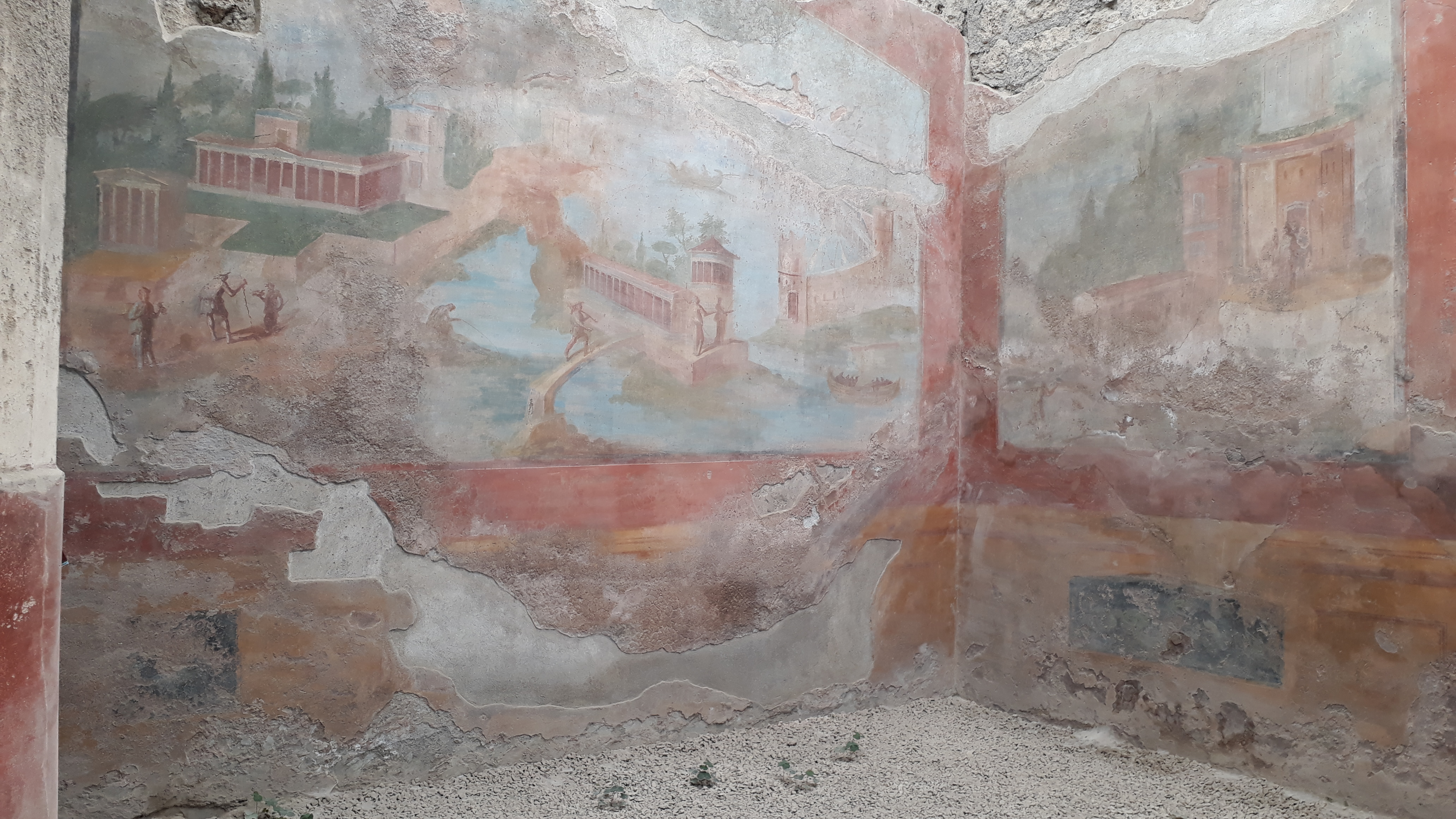 Sehr gut erhaltene Fresken, entdeckt bei den Ausgrabungen in der antiken Stadt Pompeji, die vor fast 2000 Jahren vom bei einem Vulkanausbruch vernichtet wurde.